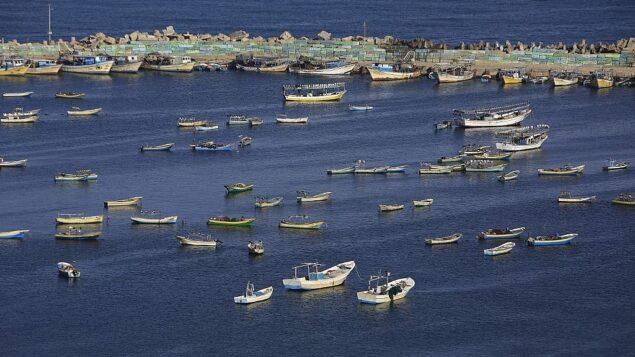 قوارب صيد فلسطينية في البحر الأبيض المتوسط في ميناء مدينة غزة، 10 مايو 2019. (Mohammed Abed/AFP)