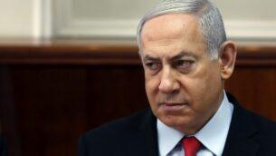 رئيس الوزراء بنيامين نتنياهو يترأس اجتماعًا لمجلس الوزراء في القدس، 13 نوفمبر 2019. (Ronen Zvulun / Pool / AFP)