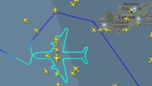 رحلة طائرة  'إل عال' 747 من روما إلى تل أبيب في تكريم لطراز الطائرة، التي أنهت خدماتها في أسطول شركة الطائرات الإسرائيلية، 3 نوفمبر، 2019. (screen capture: Flight Radar)