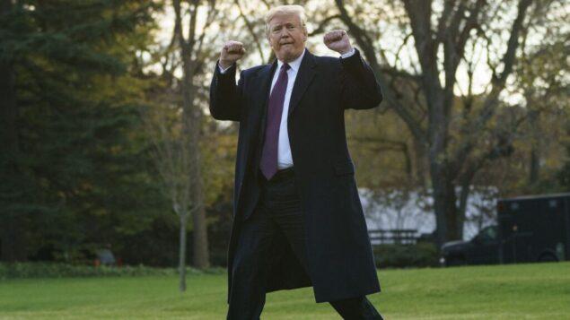 الرئيس الأمريكي دونالد ترامب يسير إلى مارين وان بعد التحدث إلى وسائل الإعلام في البيت الأبيض، 20 نوفمبر 2018 (AP Photo / Carolyn Kaster)