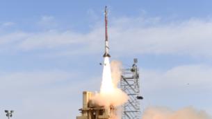 اختبارات لمنظومة الدفاع الجوي 'مقلاع داوود'، 19 مارس، 2019.  (Defense Ministry)