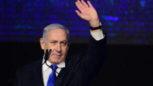 رئيس الوزراء بنيامين نتنياهو في تجمع لحزب 'الليكود' في تل أبيب، 17 نوفمبر، 2019.  (Tomer Neuberg/Flash90)