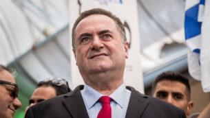 وزير الخارجية يسرائيل كاتس في حدذ انتخابي لحزب الليكود في القدس، 16 سبتمبر 2019. (Yonatan Sindel / Flash90)