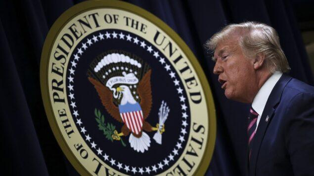 الرئيس الأمريكي دونالد ترامب يغادر بعد حديثه مع الصحافيين في قمة الصحة النفسية في مبنى مكتب آيزنهاور التنفيذي بالبيت الأبيض، 19 ديسمبر، 2019 في العاصمة واشنطن. (Drew Angerer/Getty Images/AFP)