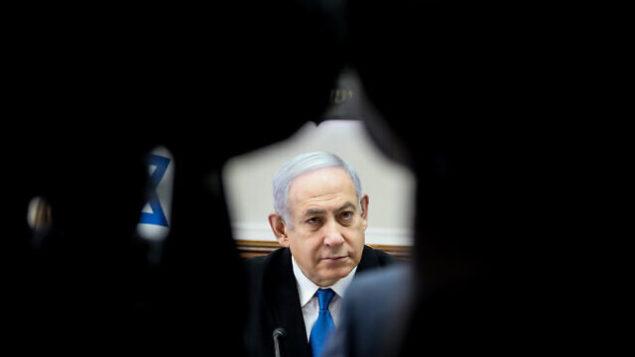 رئيس الوزراء بنيامين نتنياهو يترأس الجلسة الأسبوعية للمجلس الوزاري في مكتب رئيس الوزراء بالقدس، 1 ديسمبر، 2019.  (Marc Israel Sellem/POOL)