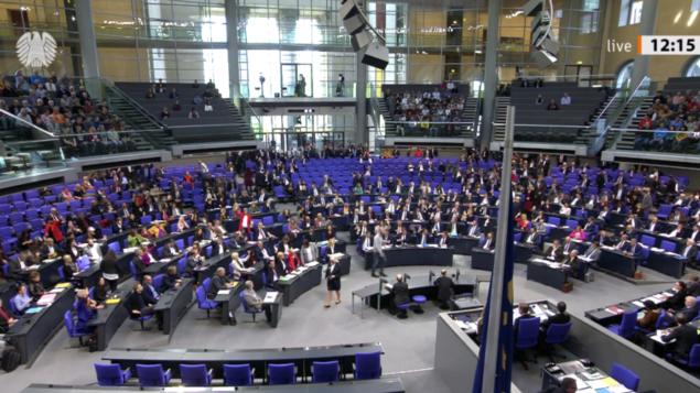 البوندستاغ يصوت لصالح قرار يدعو الحكومة الألمانية إلى حظر أنشطة حزب الله في ألمانيا ، 19 ديسمبر 2019 (courtesy Bundestag.de)