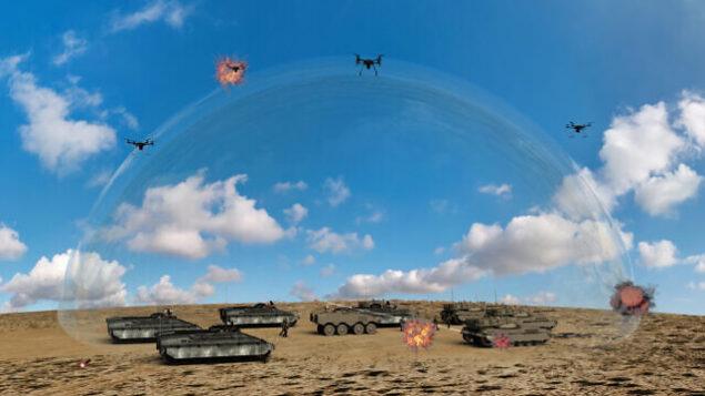 نموذج بالحجم الطبيعي تم إنشاؤه بواسطة الكمبيوتر لنظام دفاع جوي قائم على الليزر تقوم  وزارة الدفاع الإسرائيلية بتطويره ،  8 يناير 2020.(Defense Ministry)