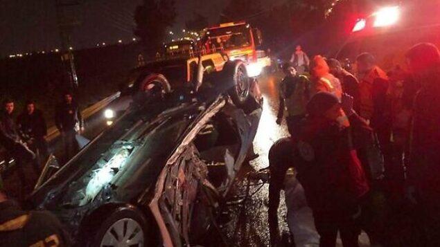 موقع حادث الطرق المروع الذي وقع بالقرب من كفار سابا في 18 يناير، 2020.  (Courtesy: MDA)