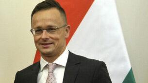 وزير الشؤون الخارجية والتجارة المجري، بيتر سياردو، في مكنبه ببودابست، المجر، 14 يونيو، 2019. (Attila Kovacs/MTI via AP)
