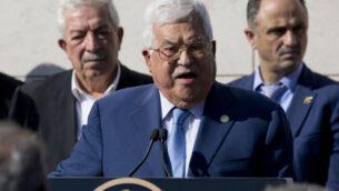 الرئيس الفلسطيني محمود عباس يلقي خطابا في مدينة رام الله بالضفة الغربية، 11 نوفمبر 2019. (Majdi Mohammed/AP)