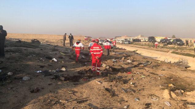 حطام في حادث تحطم طائرة في ضواحي طهران، إيران، 8 يناير 2020 (AP Photos / Mohammad Nasiri)