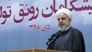 الرئيس الإيراني حسن روحاني في طهران، إيران، 14 يناير 2020. (Iranian Presidency Office via AP)
