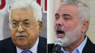 رئيس السلطة الفلسطينية محمود عباس (يسار) وزعيم حماس إسماعيل هنية (Flash90, Said Khatib/AFP)