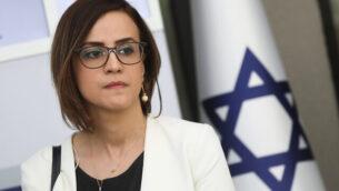 عضو الكنيست هبة يزبك (القائمة العربية الموحدة-التجمع) تعقد مؤتمرا صحفيا في القدس، 16 أبريل، 2019.  (Noam Revkin Fenton/Flash90)