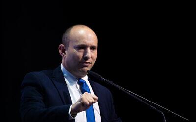 وزير الدفاع نفتالي بينيت في مؤتمر نظمته صحيفة 'ماكور ريشون' في مركز المؤتمرات الدولي في القدس، 8 ديسمبر، 2019. (Yonatan Sindel/Flash90)