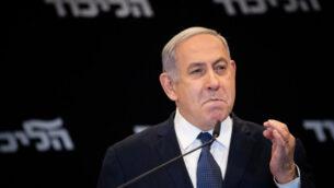 رئيس الوزراء بنيامين نتنياهو في فندق 'أورينت' بالقدس، الأول من يناير، 2020.  (Yonatan Sindel/Flash90)