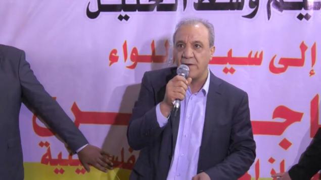 رئيس جهاز المخابرات العامة بالسلطة الفلسطينية ماجد فرج يتحدث في الخليل، 11 يونيو 2018. (Screenshot: Youtube)