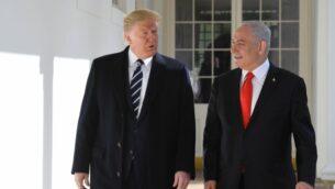 الرئيس الأمريكي دونالد ترامب ترامب يستضيف رئيس الوزراء بنيامين نتنياهو في البيت الأبيض، 27 يناير 2020. (Kobi Gideon/GPO)