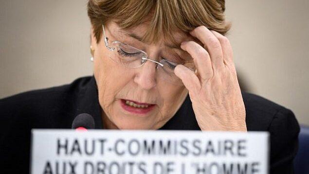 المفوضة السامية  للأمم المتحدة لحقوق الإنسان ميشيل باشليت تتحدث في جنيف، 20 مارس، 2019. (Fabrice Coffrini/AFP)