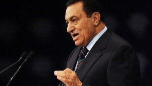 الرئيس المصري حسني مبارك يتحدث خلال كلمة ألقاها أمام المنتدى الاقتصادي العالمي حول الشرق الأوسط في مركز شرم الشيخ الدولي للمؤتمرات، 18 مايو 2008. (AFP Photo / Mandel Ngan)