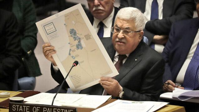 رئيس السلطة الفلسطينية محمود عباس يلقي كلمة أمام مجلس الأمن الدولي التابع للأمم المتحدة في مقر المنظمة، 11 فبراير، 2020 في نيويورك.(AP Photo/Seth Wenig)