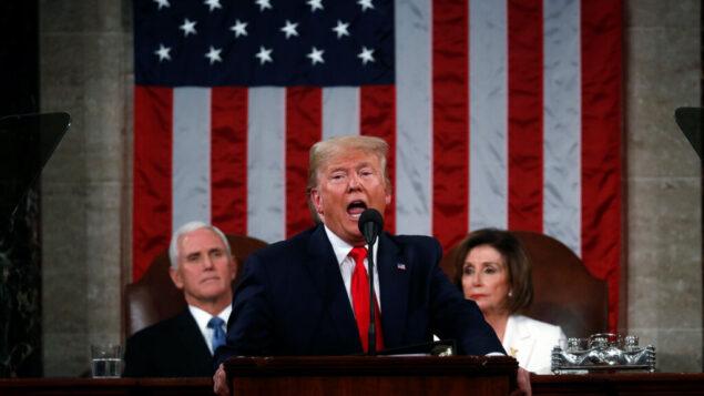 الرئيس الأمريكي دونالد ترامب يلقي خطاب حالة الاتحاد في جلسة مشتركة للكونجرس في قاعة مجلس النواب بمبنى الكابيتول هيل في واشنطن، 4 فبراير 2020. (Leah Millis/Pool via AP)