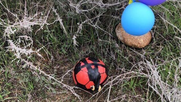 كرة قدم مفخخة تم إطلاقها على ما يبدو من قطاع غزة باستخدام بالونات وهبطت في حفل مفتوح في المجلس الإقليمي شاعر هنيغف،  23 يناير، 2019.  (Courtesy)