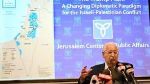 السفير الأمريكي لدى إسرائيل ديفيد فريدمان خلال إحاطة استضافها 'مركز القدس للشؤون العامة'، 9 فبراير، 2020. (Matty Stern/U.S. Embassy Jerusalem)