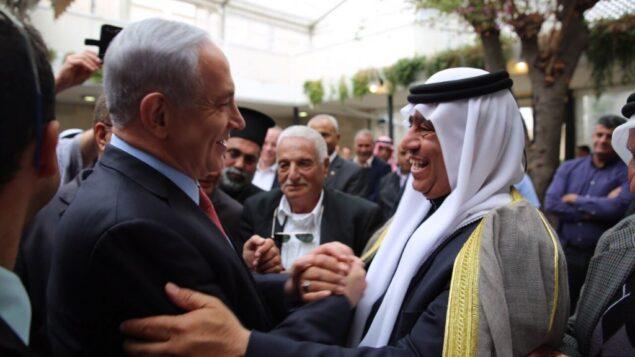 رئيس الوزراء بنيامين نتنياهو في لقاء مع القادة العرب الإسرائيليين، 23 مارس 2015 (Courtesy)