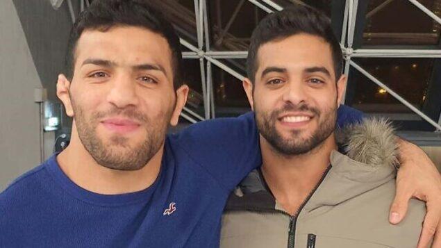 بطل العالم للجودو، ساغي موكي (يمين) والبطل الإيراني سعيد مولاي في صورة مشتركة في بطولة 'غراند بري باريس'، 10 فبراير،  نشرها موكي على 'إنستغرام' (Instagram screen capture)