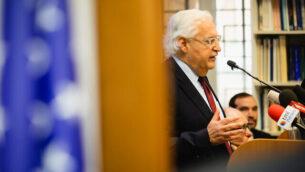 السفير الأمريكي لدى إسرائيل،  دافيد فريدمان، في احاطة استضافها 'مركز القدس للشؤون العامة'، 9 فبراير،  2020.  (Reouven Ben Haim/JCPA)