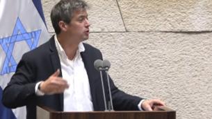 عضو الكنيست من حزب 'ازرق ابيض' يوعاز هندل في الكنيست، 29 مايو 2019 (screenshot)