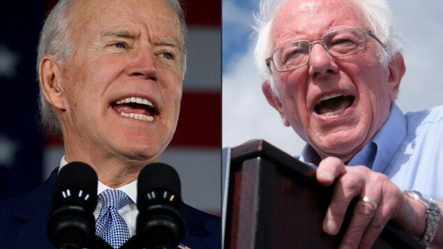 صورة مركبة تظهر المرشحان الديمقراطيان للرئاسة الأمريكية جو بايدن (يسار) وبيرني ساندرز (JIM WATSON, RINGO CHIU / AFP)