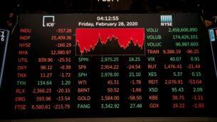 صورة توضيحية: انخفاض اسعار الاسهم في بورية نيويورك في اعقاب انتشار فيروس كورونا، 28 فبراير 2020 (SCOTT HEINS / GETTY IMAGES NORTH AMERICA / AFP)