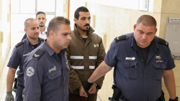 Sand Al-Turman, the suspect in a car-ramming attack which injured a dozen soldiers near the Jerusalem First Station a few weeks ago, seen at the District Court in Jerusalem on March 11, 2020. Photo by Olivier Fitoussi/Flash90 *** Local Caption *** פינוי פצוע חייל פיגוע דריסה פלסטיני ירושלים הערכת מעצר סנד אל-טורמאן דריסה חיילים