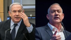صورة مركبة لرئيس الوزراء بنيامين نتنياهو، يسار، ورئيس حزب 'أزرق أبيض'، بيني غانتس، يمين.  (Flash90)