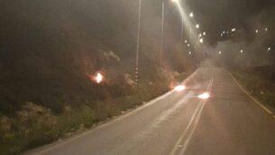 زجاجات حارقة القيت على شرطة الحدود خارج مستوطنة يتسهار، 27 مارس 2020 (Border Police)