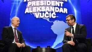 الرئيس الصربي ألكساندر فوتشيتش، يمين، يتحدث في المؤتمر السنوي للجنة الشؤون العامة الأمريكية الإسرائيلية (إيباك)، في واشنطن، 2 مارس 2020 (Dimitrije Goll/Presidency of Serbia)