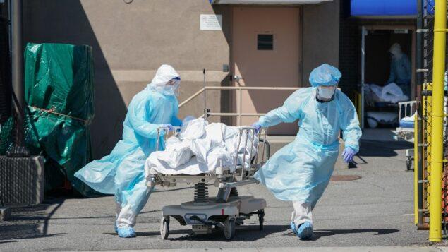 نقل الجثث إلى شاحنة تبريد تعمل كمشرحة مؤقتة في مستشفى ويكوف في حي بروكلين بنيويورك، 6 أبريل 2020 (BRYAN R. SMITH / AFP)