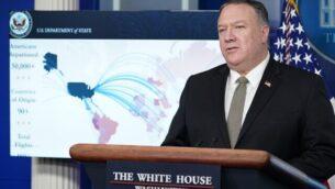 وزير الخارجية الأمريكي مايك بومبيو يتحدث خلال مؤتمر صحافي في 8 أبريل، 2020 في قاعة 'برادي' للإحاطات الإعلامية بالبيت الأبيض في العاصمة الأمريكية واشنطن.(Mandel Ngan/AFP)