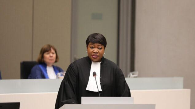 المدعية العامة في المحكمة الجنائية الدولية فاتو بنسودا في افتتاح السنة القضائية للمحكمة بجلسة خاصة في مقر المحكمة في لاهاي، 23 يناير 2020. (Courtesy ICC)