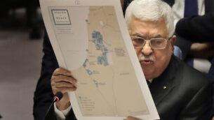 الرئيس الفلسطيني محمود عباس يلقي كلمة خلال جلسة لمجلس الأمن التابع للأمم المتحدة في مقر المنظمة بنيويورك، 11 فبراير، 2020. (AP Photo/Seth Wenig)