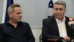 Chairman of the Labor party Amir Peretz and Meretz leader Nitzan Horowitz and party members hold a press conference in Tel Aviv on March 12, 2020. Photo by Tomer Neuberg/Flash90 *** Local Caption *** âùø
