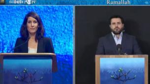 المذيعان مايا كاتس (إلى اليسار) وأسامة عليوات خلال حدث يوم الذكرى الإسرائيلي الفلسطيني المشترك، 27 أبريل 2020. (Rami Ben Ari/Combatants for Peace)