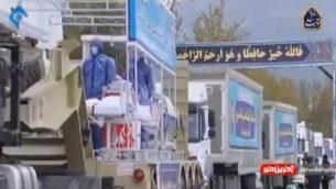 إيران تحيي 'يوم الجيش' السنوي باستعراض يشمل شاحنات مطهرة ووحدات طبية متنقلة في الوقت الذي تواجه فيه البلاد وباء فيروس كورونا (Screen grab/Twitter)