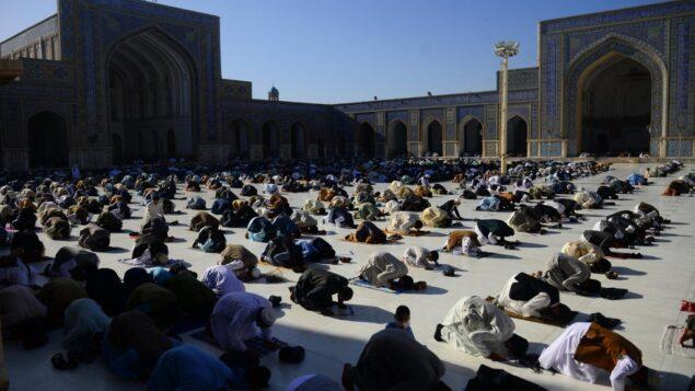 مسلمون يصلون في بداية عيد الفطر الذي يصادف نهاية شهر رمضان المبارك في مسجد جامع، في هرات، أفغانستان، 24 مايو 2020 (HOSHANG HASHIMI / AFP)