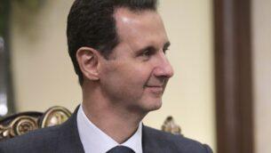 الرئيس السوري بشار الأسد يستمع إلى الرئيس الروسي فلاديمير بوتين خلال لقائهما في دمشق، سوريا، 7 يناير 2020. (Alexei Druzhinin / Sputnik، Kremlin Pool Photo via AP)