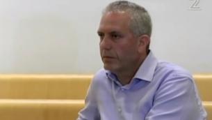 أبراهام باركاي في محكمة الصلح في حيفا، 12 مايو 2012. (Screen capture/Channel 12)
