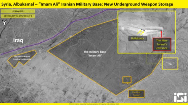 في هذه الصورة التي نشرتها 'ImageSat إنترناشيونال' في 13 مايو، 2020، تظهر ما تبدو كأعمال بناء على منشأت لتخزين الأسلحة تحت الأرض في قاعدة عسكرية يُشتبه بأن إيران تسيطر عليها في منطقة البوكمال شرق سوريا. (ImageSat International)