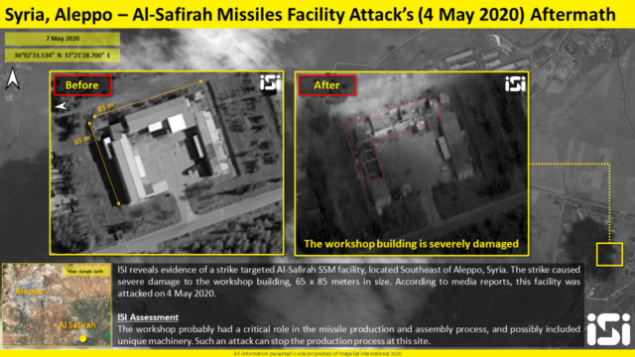 صور أقمار اصطاعنية تظهر كما يُزعم الأضرار التي لحقت بمصنع صواريخ خارج مدينة حلب السورية، والتي تسببت بها غارات جوية نُسبت لإسرائيل في 4 مايو، والتي نُشرت في 7 مايو، 2020.  (ImageSat International)